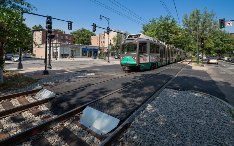 A Green Line train passes over a newly completed intersection upgrade on the C Branch at Carlton St (July 2019)