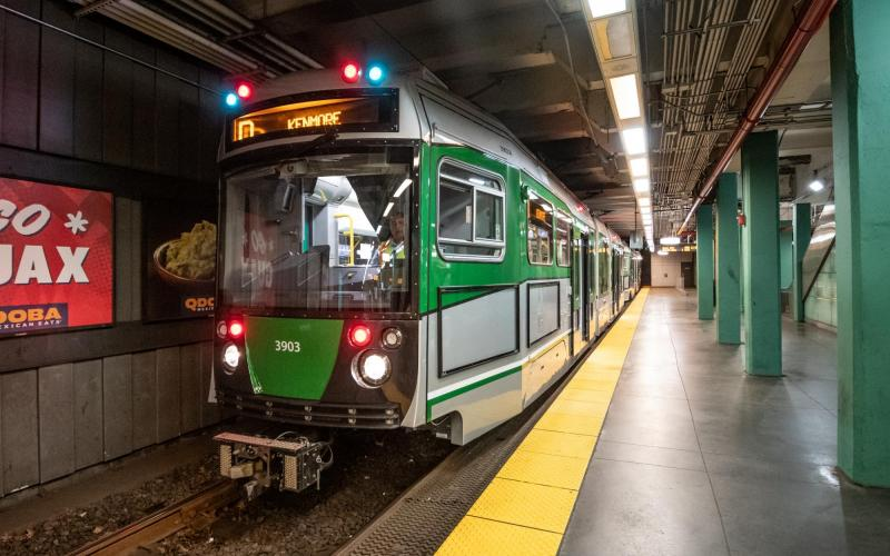 New Green Line D vehicle at Kenmore
