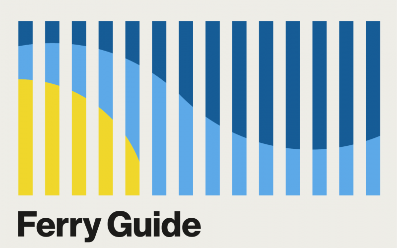 Clickable graphic for the Ferry Guide: vertical lines with a colored pattern of yellow, light blue, and dark blue