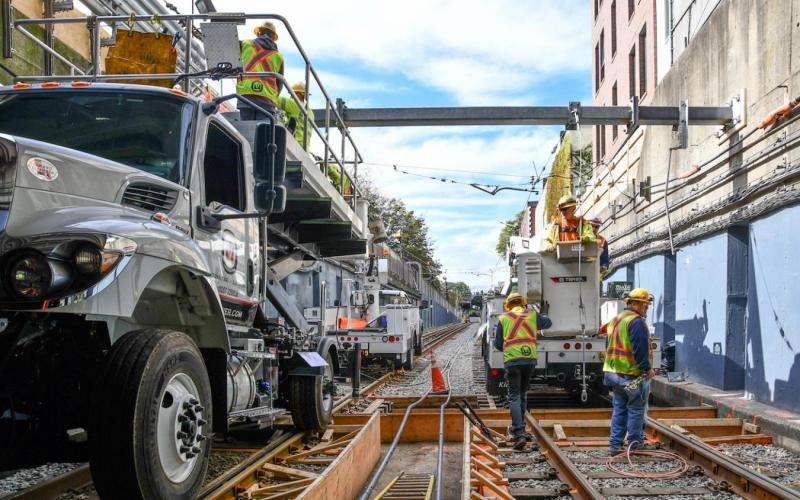 Crews work on the tracks near the Fenway Portal