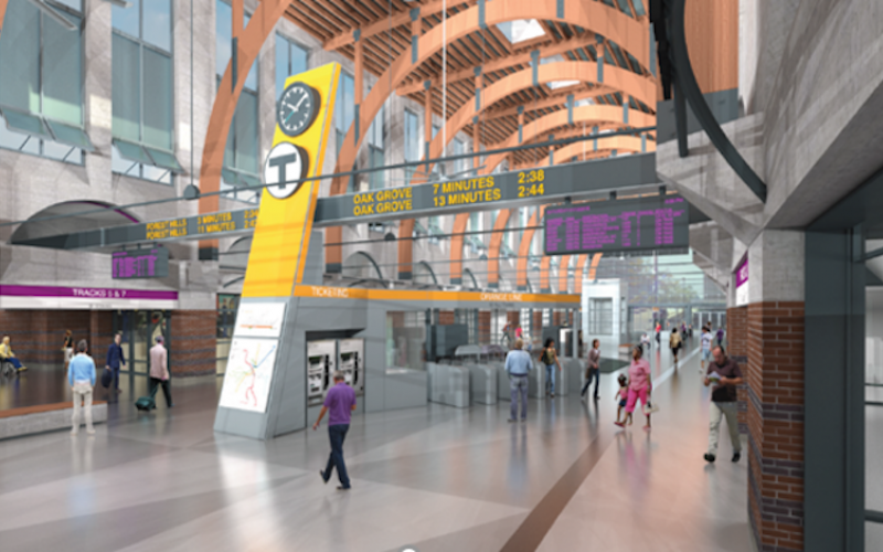 Rendering of lobby at Back Bay Station