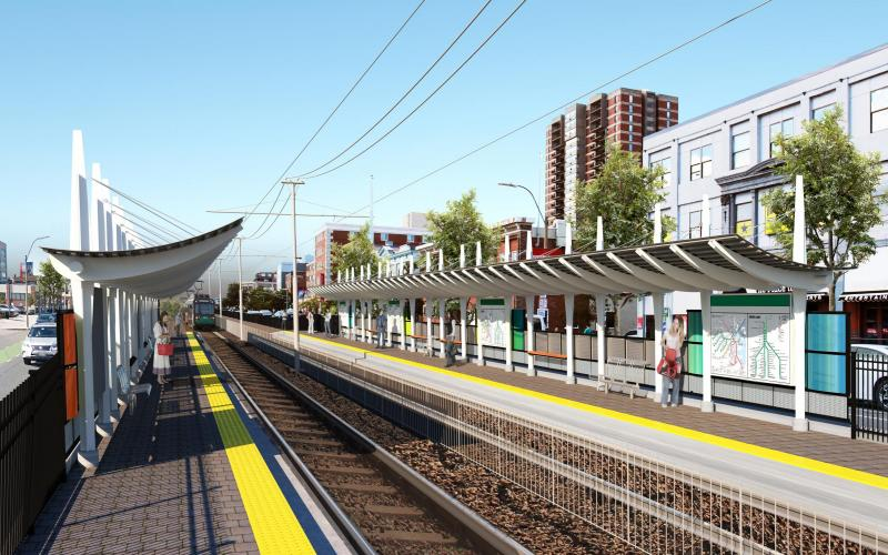 Rendering of the proposed Boston University stop, part of the Green Line B Branch Consolidation project