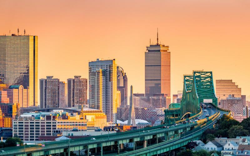 Tobin Bridge with the Boston skyline at sunset