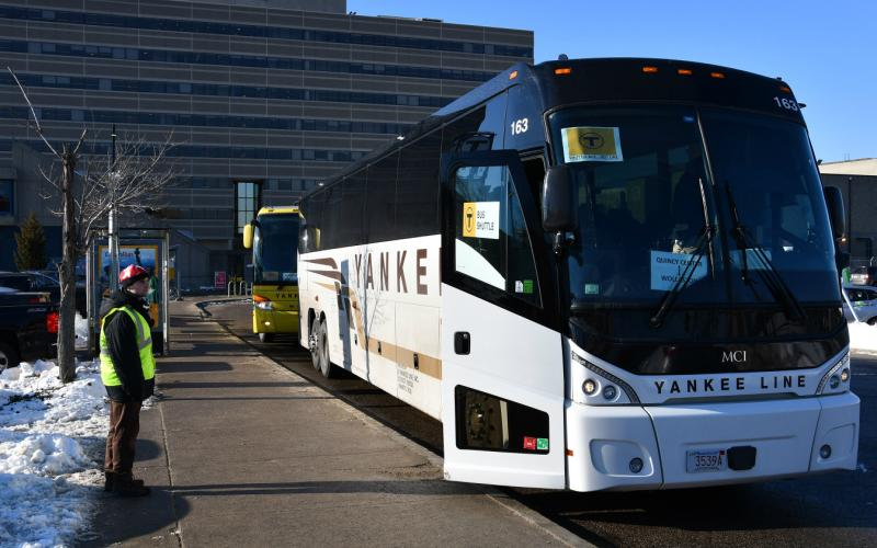 Yankee bus shuttle during Wollaston's renovation